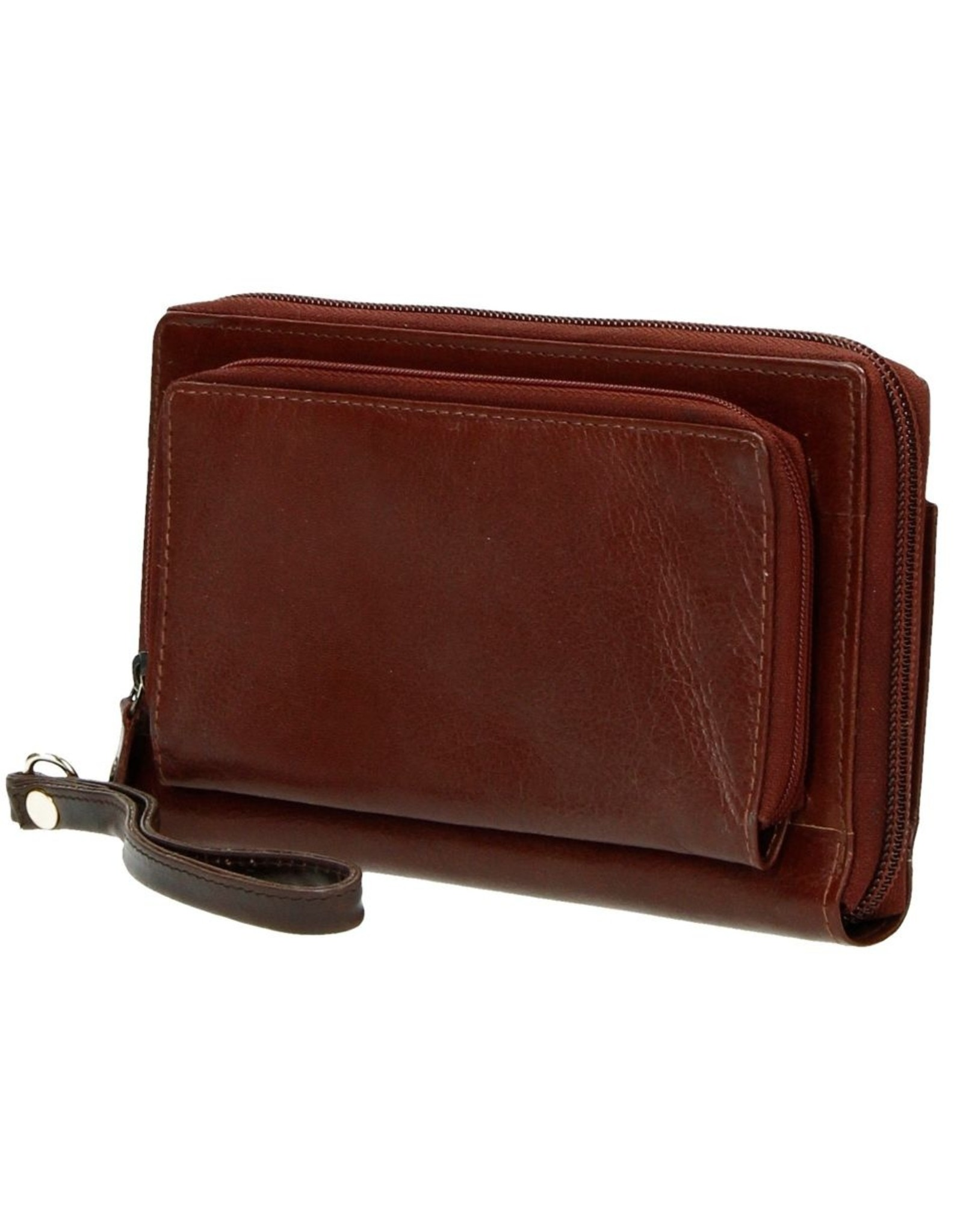 MicMac Leather Wallets - Leather wallet with mobile phone pocket (brown)
