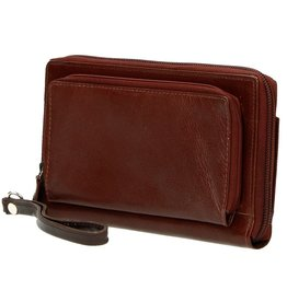 MicMac Leather wallet with mobile phone pocket (brown)