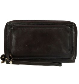 Dugros Leather wallet with mobile phone pocket (dark brown)