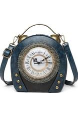 Magic Bags Steampunk tassen Gotic tassen - Steampunk Vintage Klok handtas met echt werkende Klok (blauw)