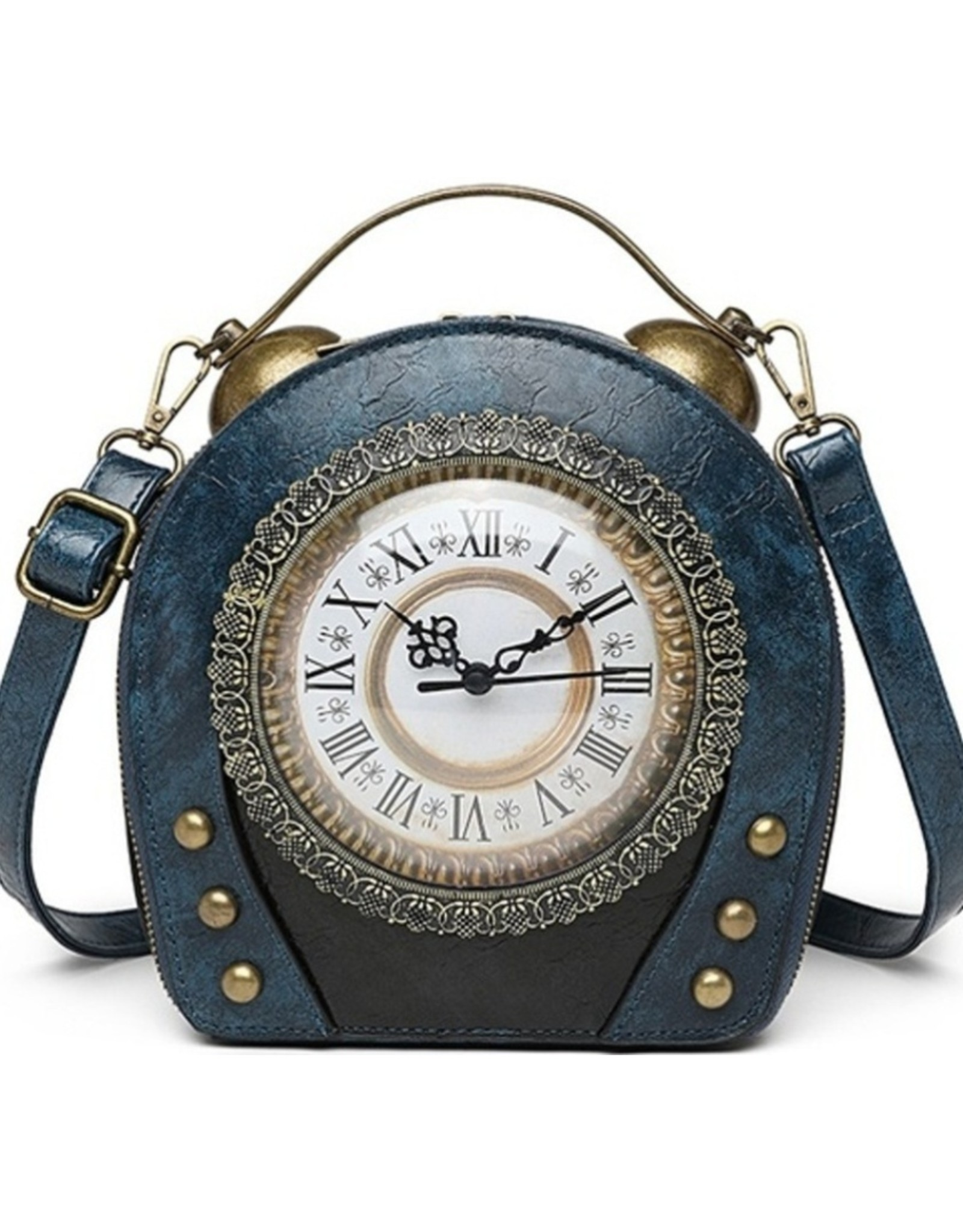 Magic Bags Steampunk bags Gothic bags - Steampunk Vintage Clock handbag with really working Clock (blue)