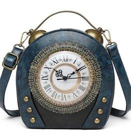 Magic Bags Steampunk Vintage Klok handtas met echt werkende Klok (blauw)