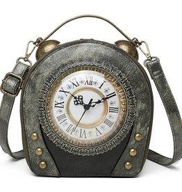 Magic Bags Vintage Klok handtas met werkende Klok (grijs)