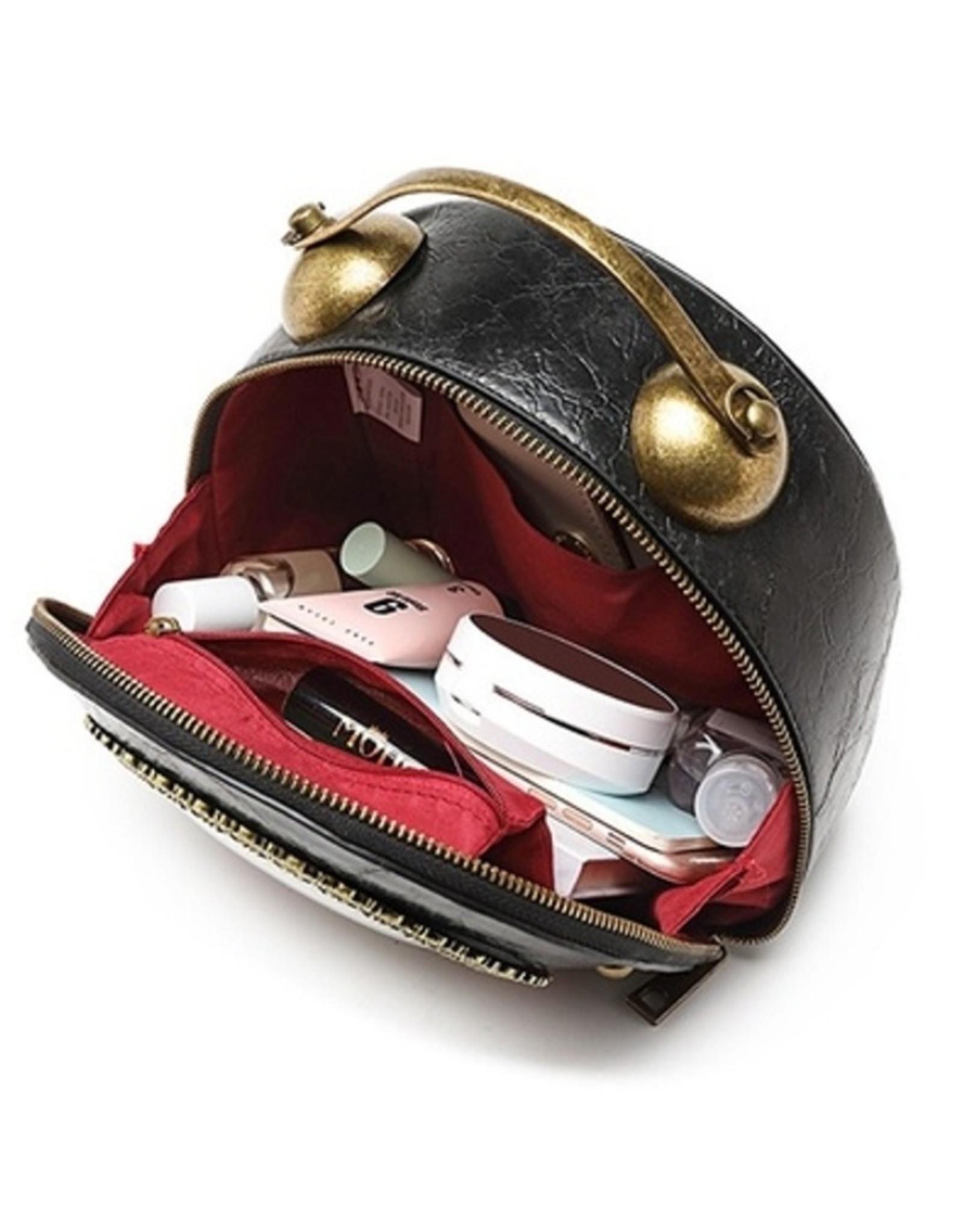 Magic Bags Steampunk tassen Gotic tassen - Steampunk Vintage Klok handtas met werkende Klok (zwart-rood)
