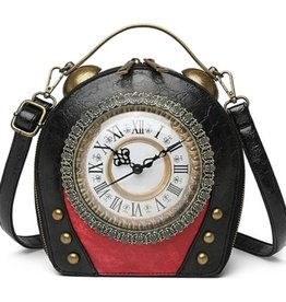 Magic Bags Vintage Klok handtas met Werkende Klok (zwart-rood)