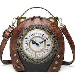 Magic Bags Vintage Clock handbag with working Clock (brown)