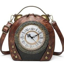 Magic Bags Vintage Klok handtas met werkende Klok (bruin)