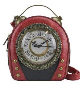 Magic Bags Steampunk Klok handtas met werkende Klok (rood)