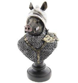 Wild Zwijn ridder beeld Wild Boar Knight statue 25cm (bust)