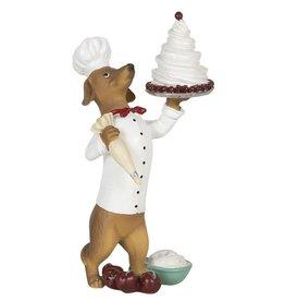 Hond Banketbakker met Taart beeld Dog Pastry Baker with Cake figurine 24cm