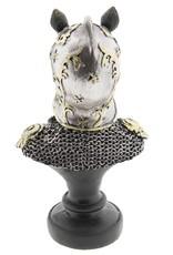 Neushoorn Ridder beeld Giftware Beelden Collectables - Neushoorn Ridder beeld 26cm (buste)