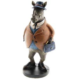 Giftware Beelden Collectables Neushoorn met Briefcase beeld 19cm