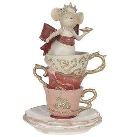 Muis Prinses in Theemok beeldje Mouse Princess in Tea Mug figurine 16cm
