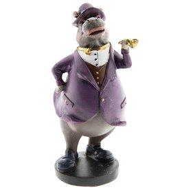 Nijlpaard Gentlemen met Pijp beeld Hippopotamus Gentlemen with Pipe figurine 19cm