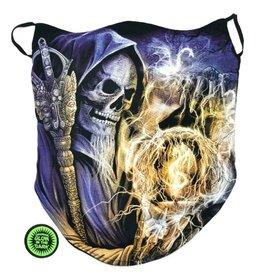 Wizard Biker-scarf Reaper Wizard with glass ball