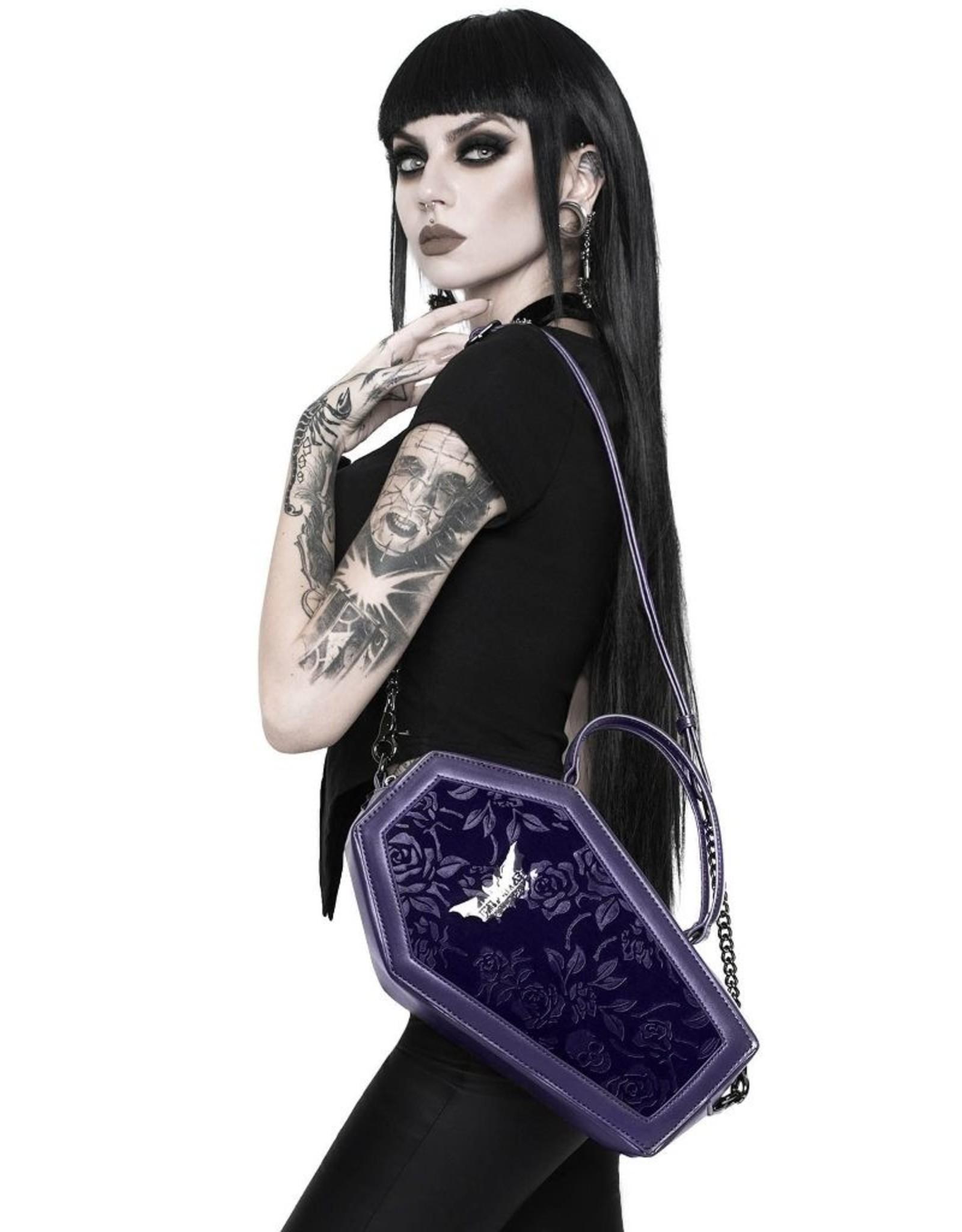 Killstar Killstar tassen en accessoires - Killstar Vampire's Kiss doodskist handtas (paars)