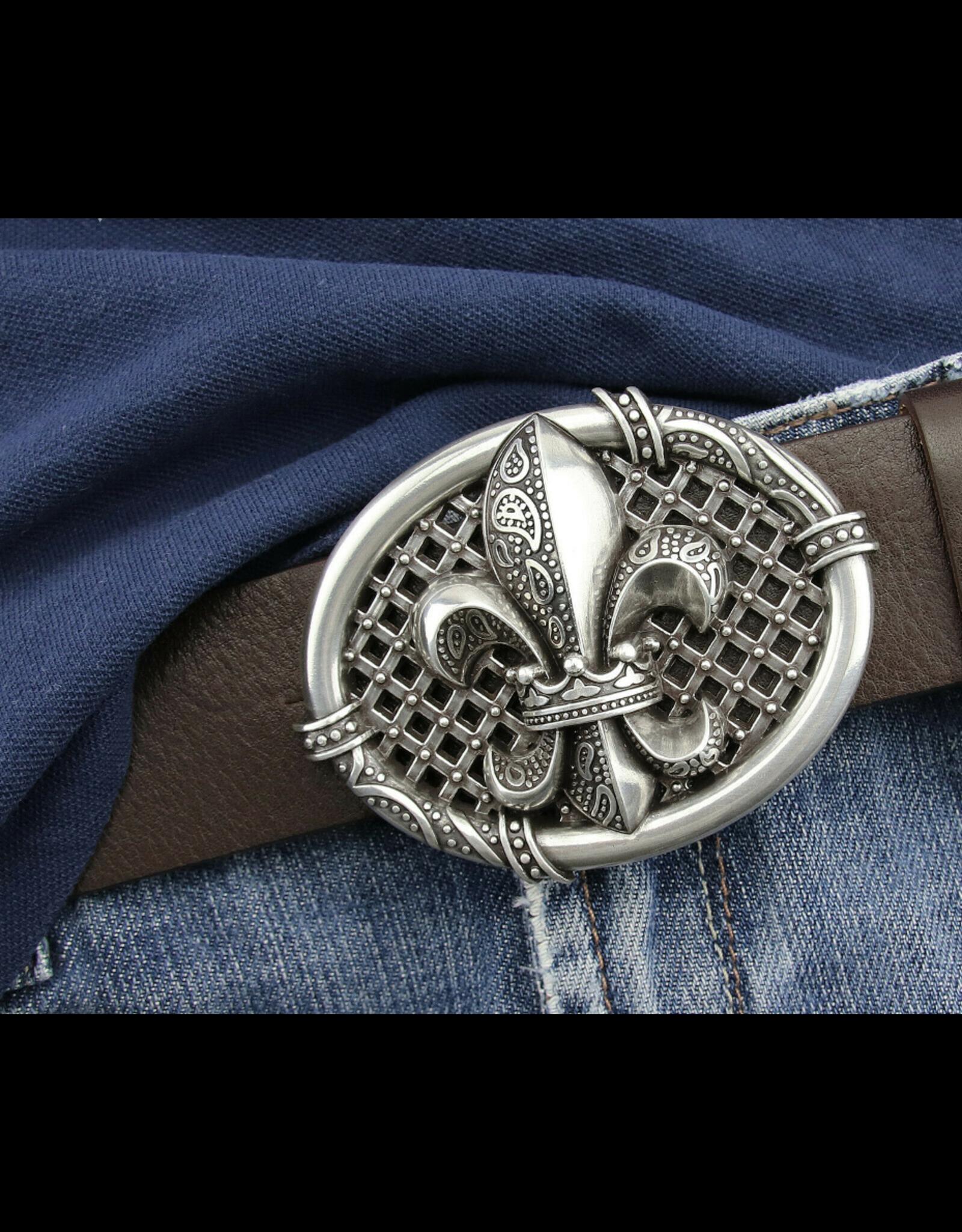 Acco Leren riemen en buckles - Buckle Franse Lelie - massief metaal