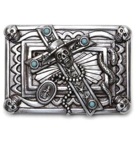 Boom Belts Buckle with Cross and Skulls - solid metal