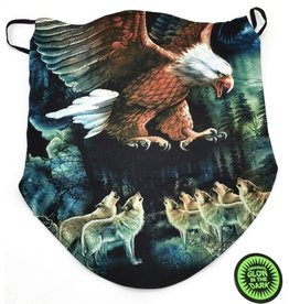 Wild Biker-scarf Eagle and wolves