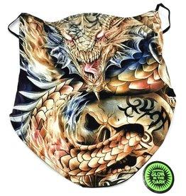 Biker-scarf Dragon and tribal skull