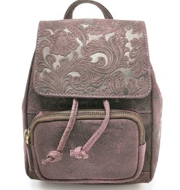 Hunters Leather Backpack with Relief Flower pattern purple