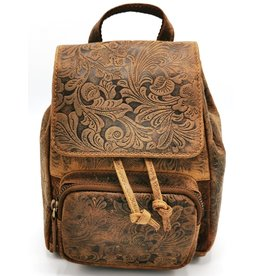 Hunters Leather Backpack with Relief Flower pattern tan