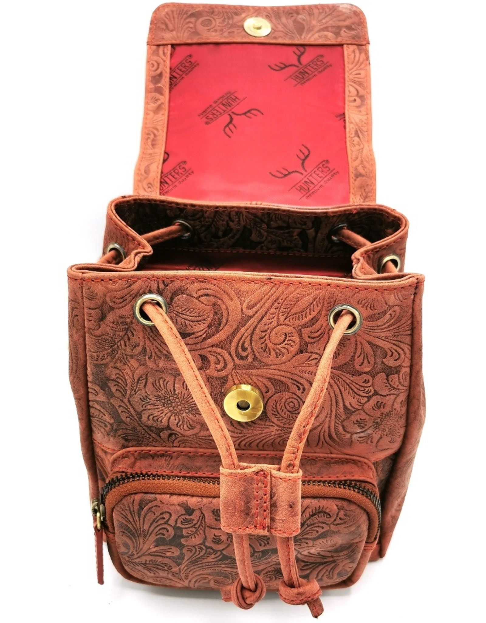 Hunters Leather backpacks  and leather shoppers - Leather Backpack with Relief Flower pattern vintage red