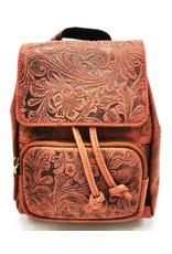 Hunters Leren rugzakken en leren shoppers - Leren Rugzakje met Reliëf Bloemenmotief vintage rood