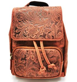 Hunters Leather Backpack with Relief Flower pattern vintage red