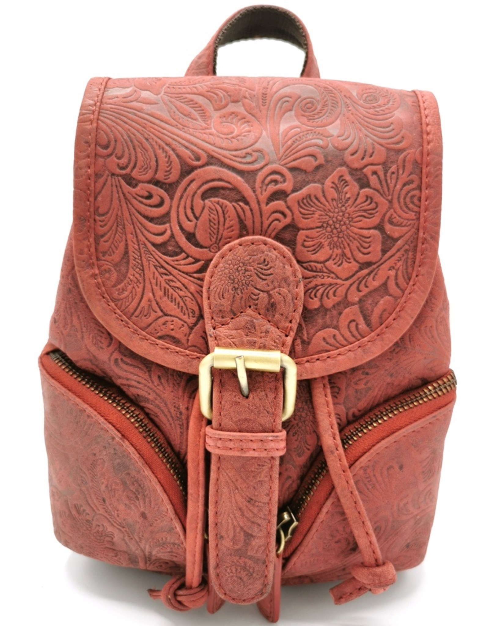 Hunters Leather backpacks  and leather shoppers - Leather Backpack with Relief Flower pattern red