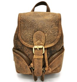 Hunters Leather Backpack with Relief Flower pattern Natural