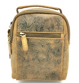 Hunters Leather Backpack with Flower pattern light brown
