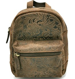 Hunters Leather Backpack with Flower Pattern brown