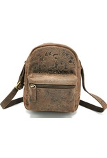 Hunters Leather backpacks  and leather shoppers - Leather Backpack with Flower Pattern brown