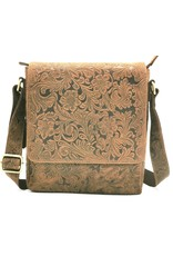 Hunters Leather shoulderbags Leather crossbody bags - Hunters Leather shoulder bag with embossed flower