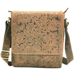 Hunters Hunters Leather shoulder bag with Embossed Flower