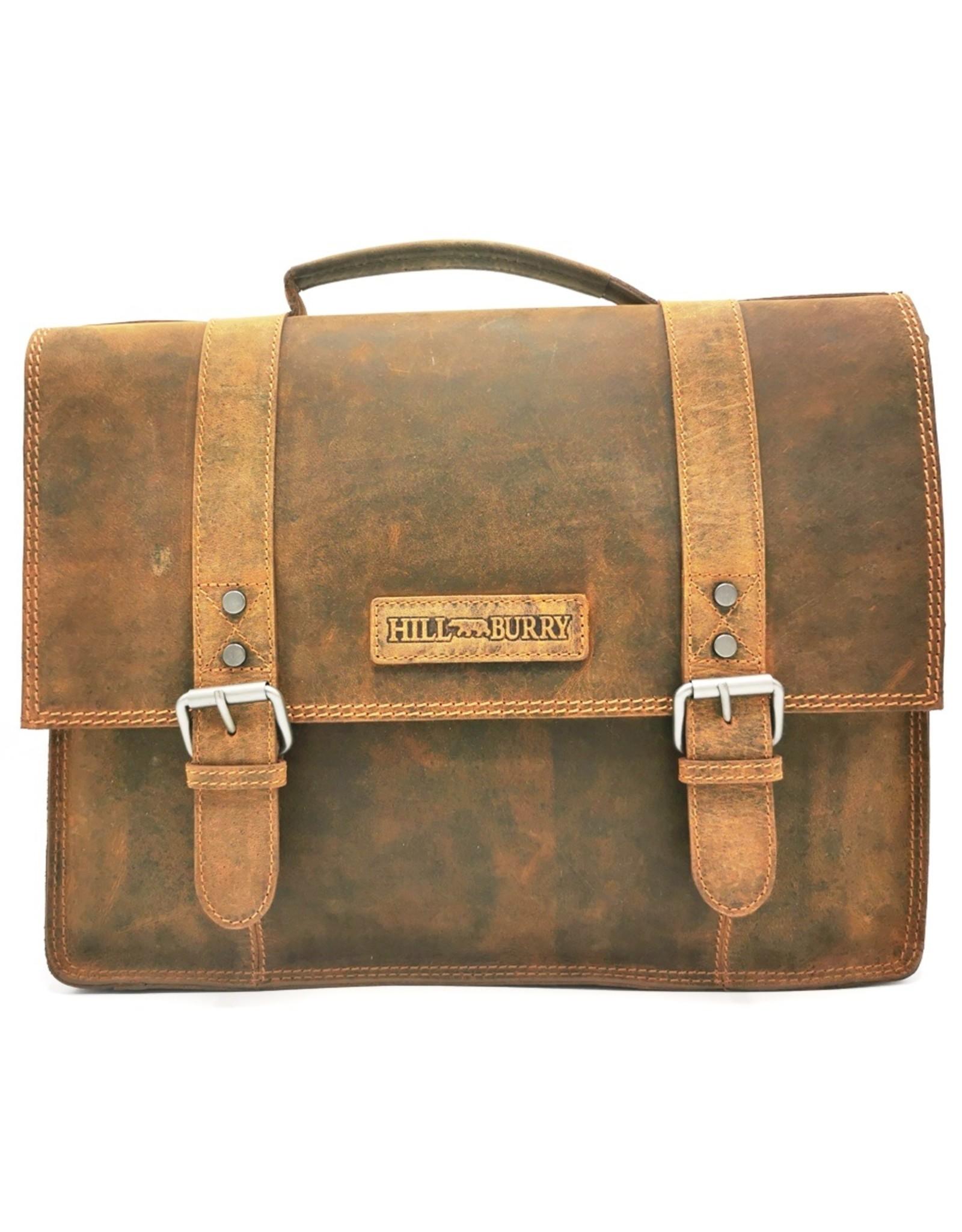 HillBurry Leather laptop bags - HillBurry Leather Vintage Schoolbag XL (Tan)