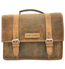 HillBurry HillBurry Leren Vintage Schooltas XL (Tan)