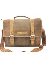 HillBurry Leren werktassen en Leren laptoptassen - HillBurry Leren Vintage Schooltas XL (Tan)