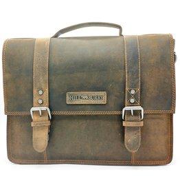 HillBurry HillBurry Leren Vintage Schooltas XL (Bruin)
