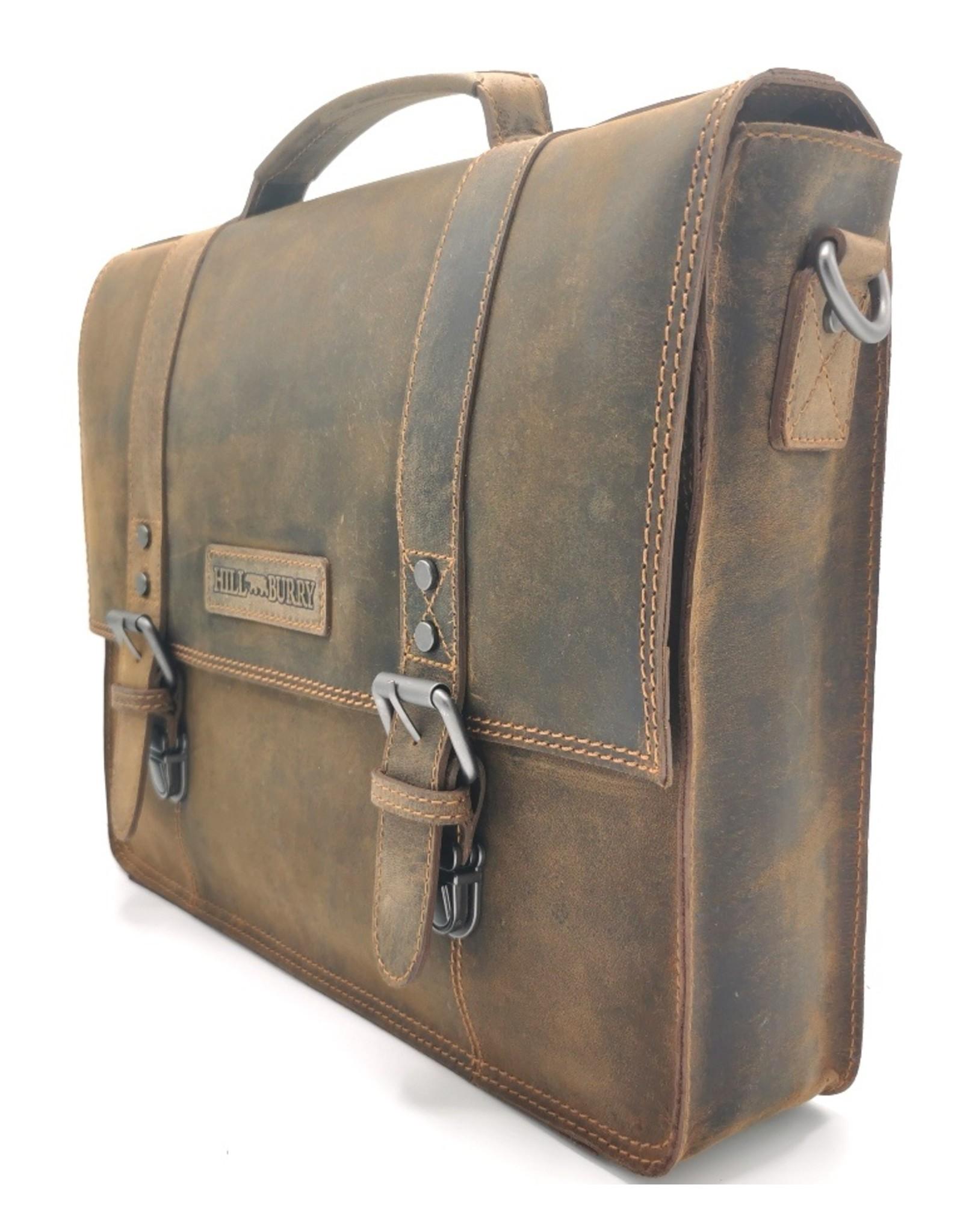HillBurry Leren werktassen en Leren laptoptassen - HillBurry Leren Vintage Schooltas XL (Bruin)