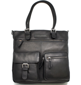 HillBurry HillBurry Leather Workbag with long handles (black)