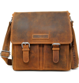HillBurry HillBurry Leren Crossbody tas (Mango Tan)