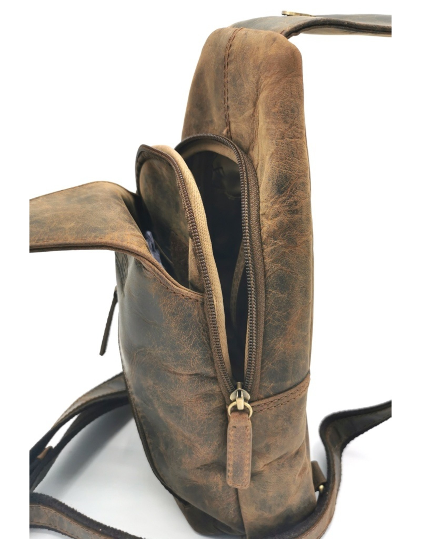 Hunter Leather Shoulder bags  Leather crossbody bags - Hunters Crossbody-Sling bag (dark tan)