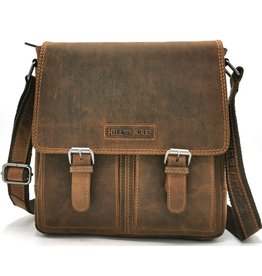HillBurry HillBurry Leren Crossbody tas (DarkTan)