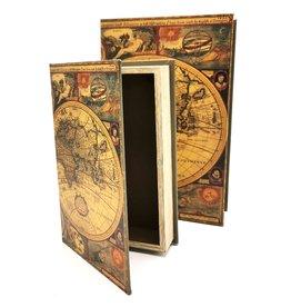 Opbergdoos Boek Wereld Atlas - Set van 2
