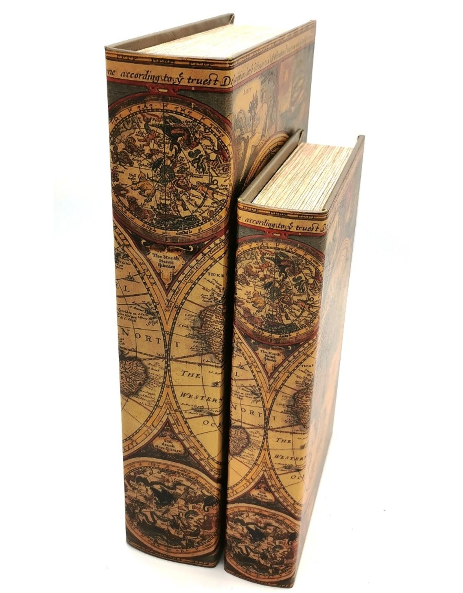 Giftware & Lifestyle - Opbergdoos Boek Wereld Atlas - Set van 2