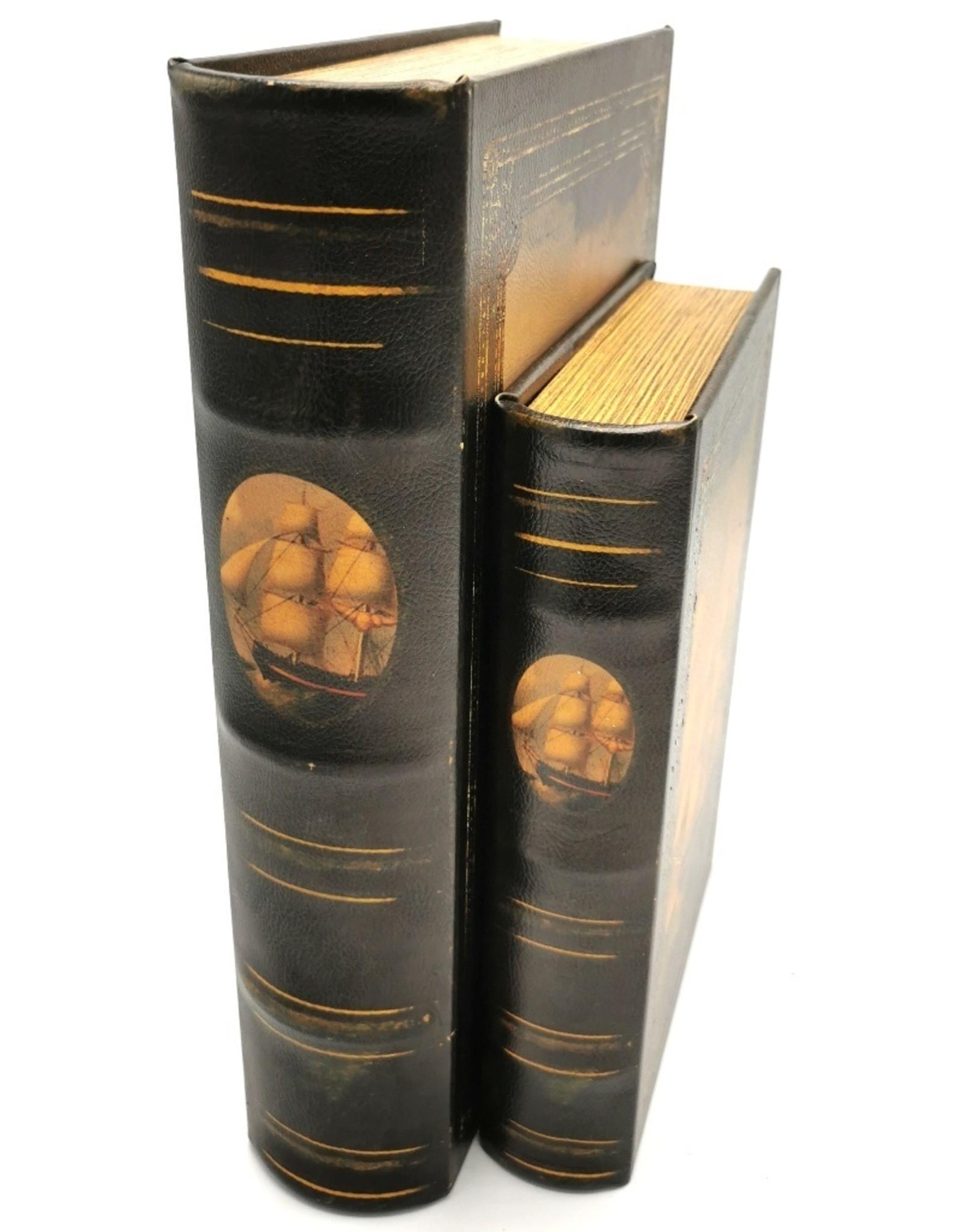 Giftware & Lifestyle - Opbergdoos Boek Zeilschip - Set van 2