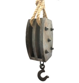 Wooden Pulley Block with Iron Screws and Hook