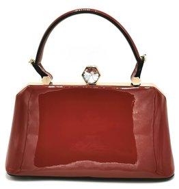 Vintage Handtas met diamantsluiting rood